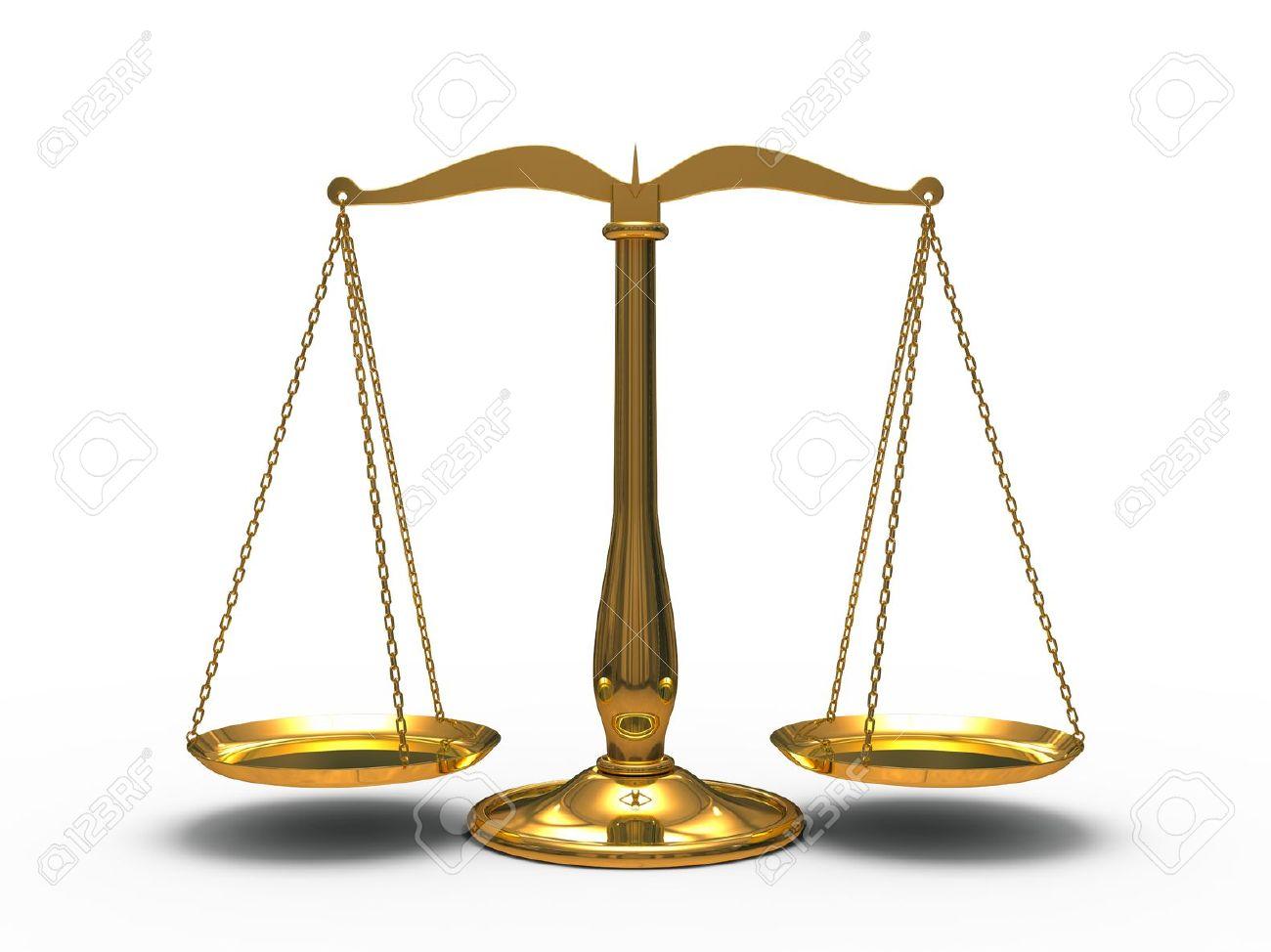 Oro-bilancia-della-giustizia-isolato-su-sfondo-bianco-Archivio-Fotografico